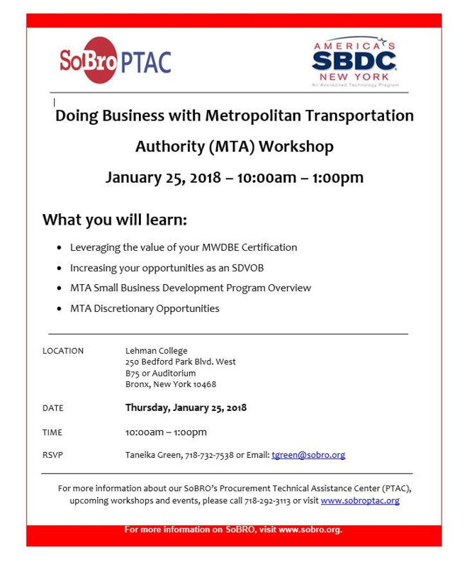 Doing Business with Metropolitan Transportation Authority (MTA) Workshop RSVP