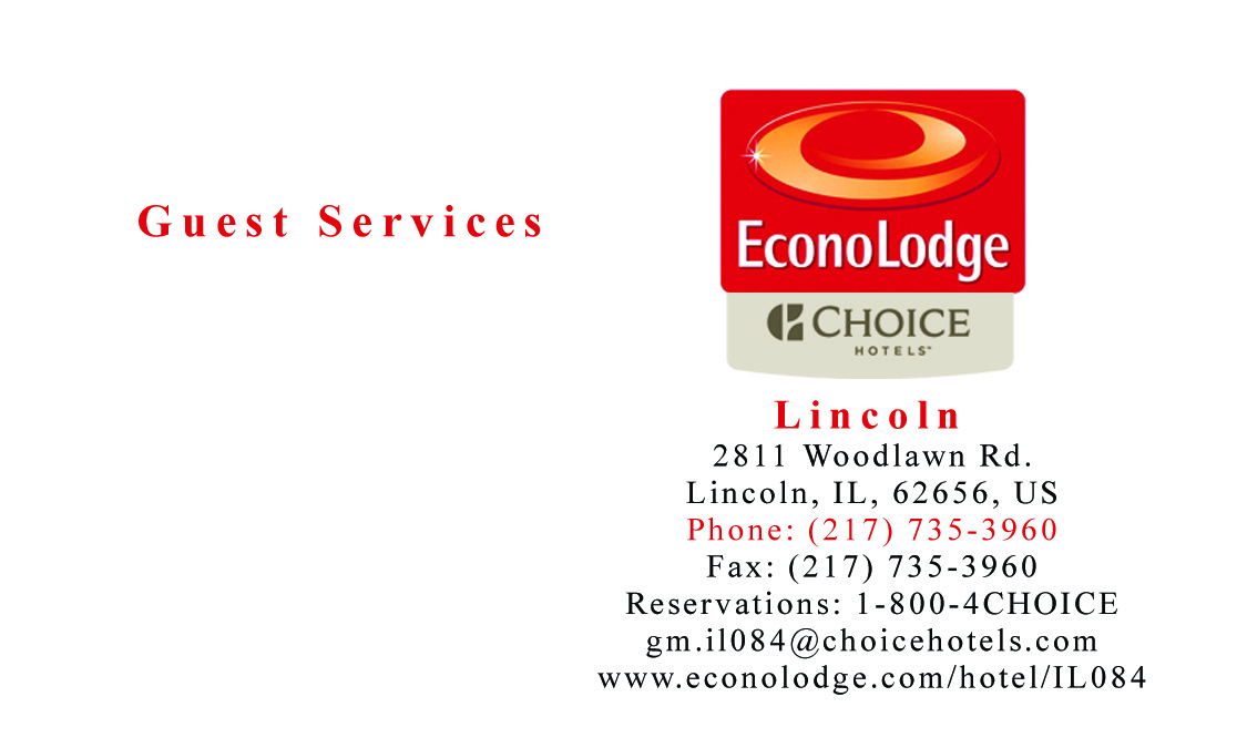 Sample gallery econolodge business card reheart Images