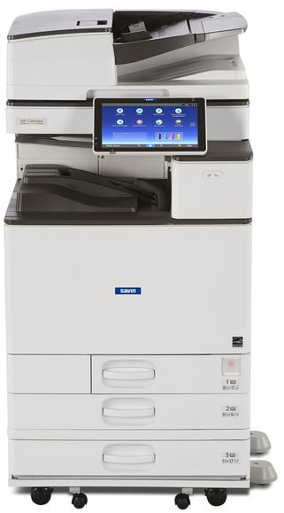 "The Savin MP C3004ex is a 30 page per minute color multifunction printer, copier, scanner, and optional fax machine. It prints and copies at 30 pages per minute, scans at up to 180 images per minute, has a Single Pass Document Feeder, 12"" by 18"" paper size capability, and paper capacity up to 4,700 sheets. Optional accessories include internal and external stapler finishers. Some of which can hole punch, booklet or half fold and saddle stitch staple. Includes a 10.1"" Smart Operation Panel with Workstyle Innovation Technology to increase productivity and maximize system uptime. Sold by Cedar Rapids Photo Copy, Inc. or CRPC in Cedar Rapids, IA. Cedar Rapids, Eastern Iowas, and the Corridors leader in office printing technology and general office technology solutions since 1965."