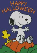 Cross Stitch Chart of Snoopy and Woodstock happy Halloween