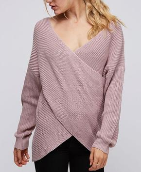 Mauve Crossover Knit Sweater