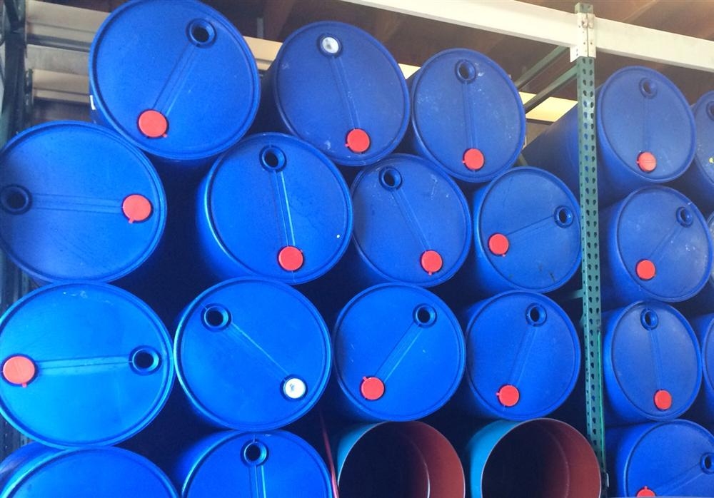 55 gallon blue plastic barrels inventory