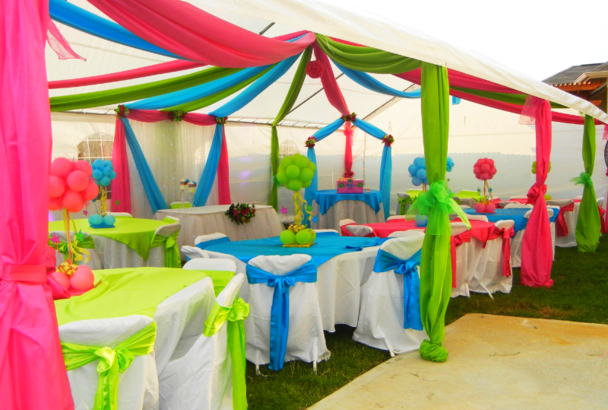 multi color canopy draping