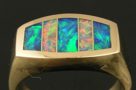Repaired opal inlay ring by Hileman