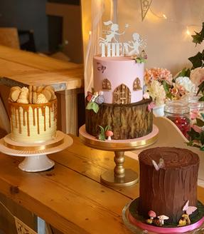Fairy themed desert table. Trio of cakes