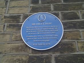 Plaque to commemorate Bramley v All Golds