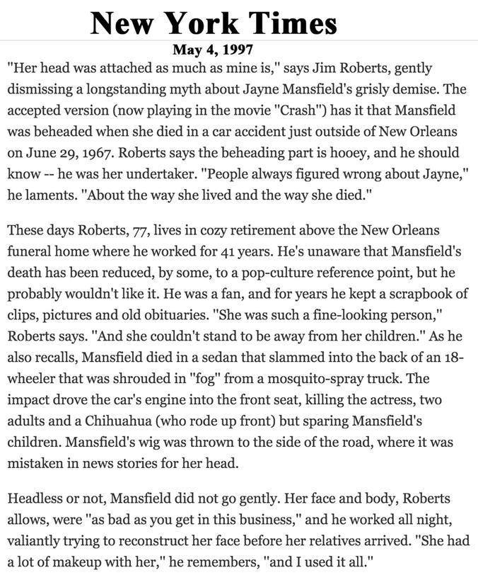 New Orleans Radio Shrine Jayne Mansfields Death