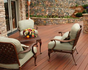 Pressure-treated deck with Fiberon.