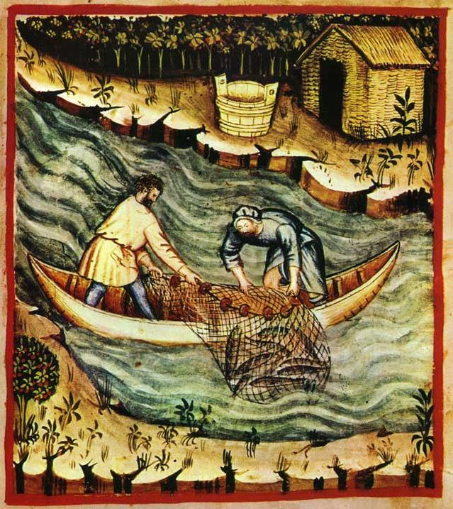 Ancent 14th century painting showing a man and woman hauling in a seine net from a wooden canoe boat