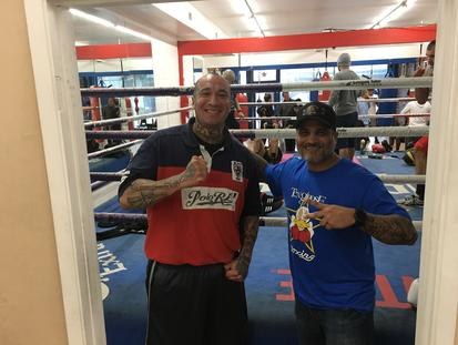 Crime and Thriller Book Author Roy Albert Andrade with Ricky Funez at Ten Goosen Gym in Van Nuys, Ca.