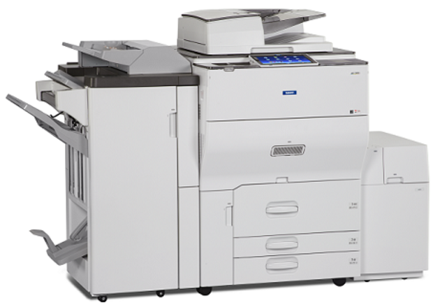 "The Savin MP C6503 and MP C8003 color multifunction printer/copiers are designed to streamline workflow, enhance collaboration, and keep teams connected. With either 65 or 80 prints/copies per minute and scanning speeds up to 220 images per minute, they are ideal for customer who rely on high-quality color, and want to produce finished documents in-house. These devices accept up to 13"" by 19.2"" paper sizes and up to 110 pound cover stock through the Bypass Tray. Minimize paper reloads with four standard paper sources and a 10.1"" Smart Operation Panel with extended service support capabilities. Finish your project by choosing between 65- or 100-sheet stapling, booklet folding and stapling, or other finishing options including Cover Interposers, a Multi-Folding unit, a GBC Stream Punch and a Plockmatic Booklet maker. Sold by Cedar Rapids Photo Copy, Inc. in Cedar Rapids, IA. Your local office printing technology and general office technology experts since 1965. Proudly serving the Cedar Rapids metro, Iowa City metro, Cedar Falls metro, and all of Eastern Iowa."