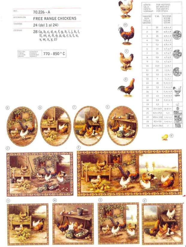 Free chickens Ceramic decals by Calcodecal