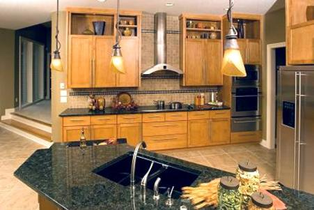 Contemporary kitchen with granite counter
