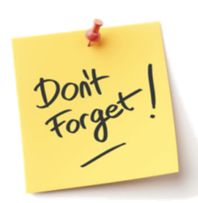 "Yellow post-it note with black text caption: ""Don't Forget!"""