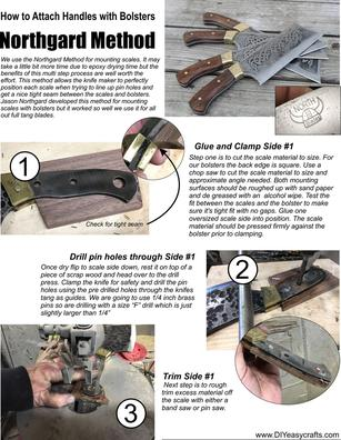 How to attach knife handles using the Northgard method. FREE downloadable PDF from www.DIYeasycrafts.com