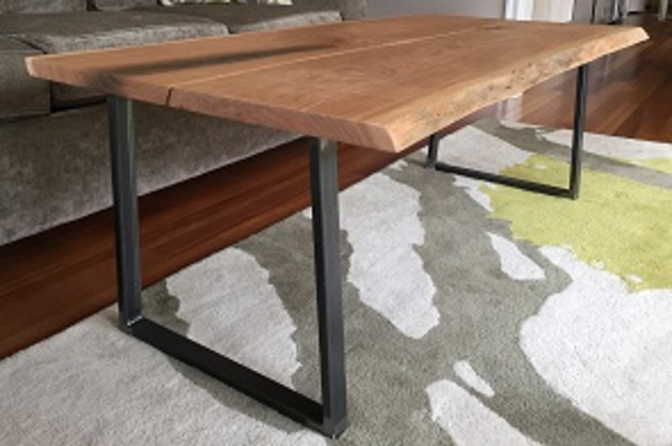 Coffee Table Made From Reclaimed Elm Barnwood With Raw Tube Steel Legs Finish Is Light