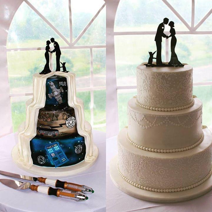 His And Hers Wedding Cake | Miss Sara S Cakery Wedding Cakes Custom Wedding Cakes