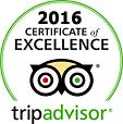 2016 Certificate of Excellence from Trip Advisor - 3rd year in a row and since in business
