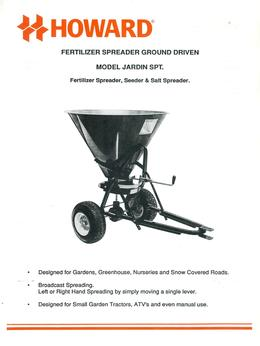 Howard Fertilizer Spreader Model Jardin SPT Brochure
