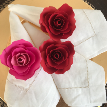 Red Rose Napkin Ring, Paper Flower Napkin Ring in Red - LaDi with a BaBy Paper Flowers