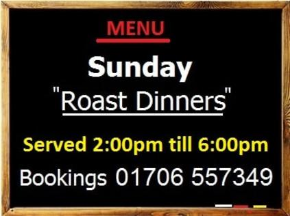 Sunday Roast Dinners Rose and Crown Ramsbottom