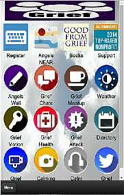 Angels Wall Community Feature of the Free Grief Support Network Mobile App by Non-Profit My Grief Angels