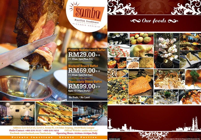 Samba Brazilian Steakhouse Churrascaria - Promo Menu