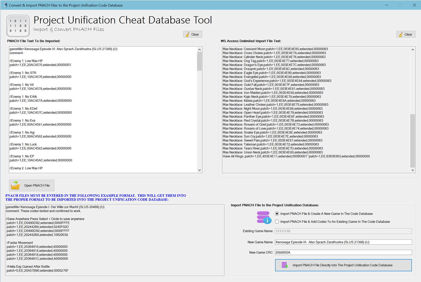 As Of Version 10 You Can Now Directly Import PNACH Files Into The Project Unification Database