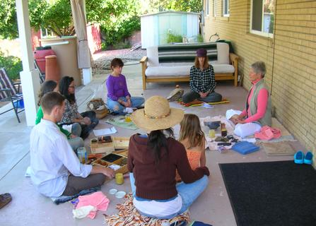Ellie Hadsall and fire keepers practicing agnihotra Vedic healing fire ceremony, Yagnya, agnihotra, homa, havan