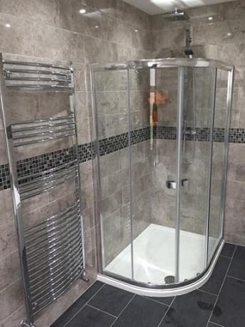 Bathroom and Shower and Chrome Radiator
