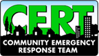 Community emergency response team abbreviation behind a city scape