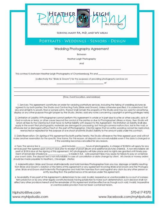 Sample Wedding Contract