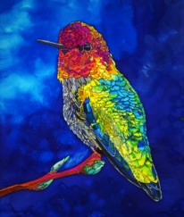 Hummingbird, Silk Painting, Tracy Harris Artist, Gutta, Silk, Water Base Risist