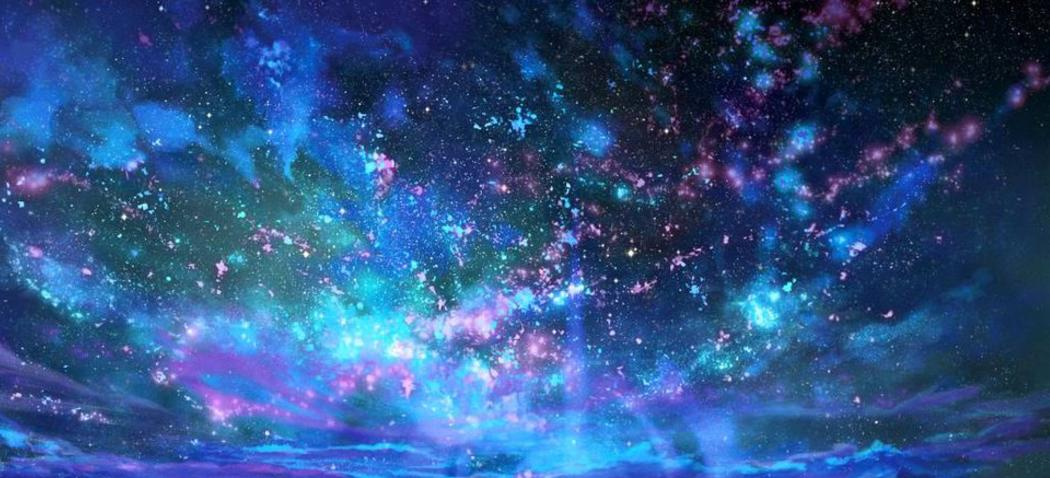 Cosmic purple bluish sky with energize beaming stars
