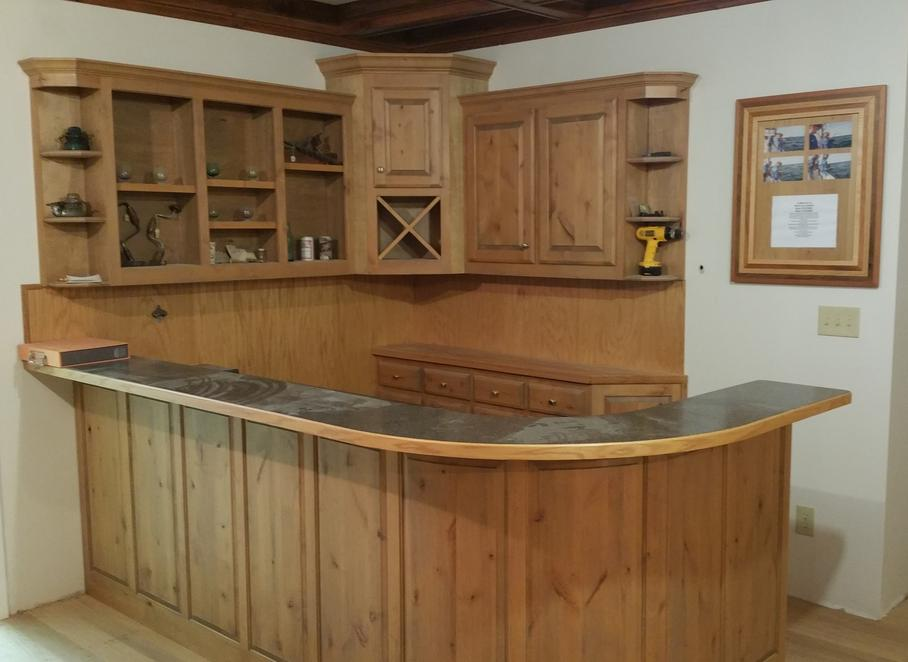 Rustic Alder Radius Bar Wall with Panel Back