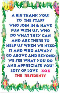 A Big Thank You to the Staff of Greenwoods Eldercare