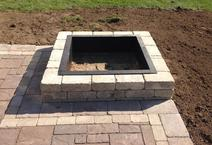 Custom firepit Brick paver patio