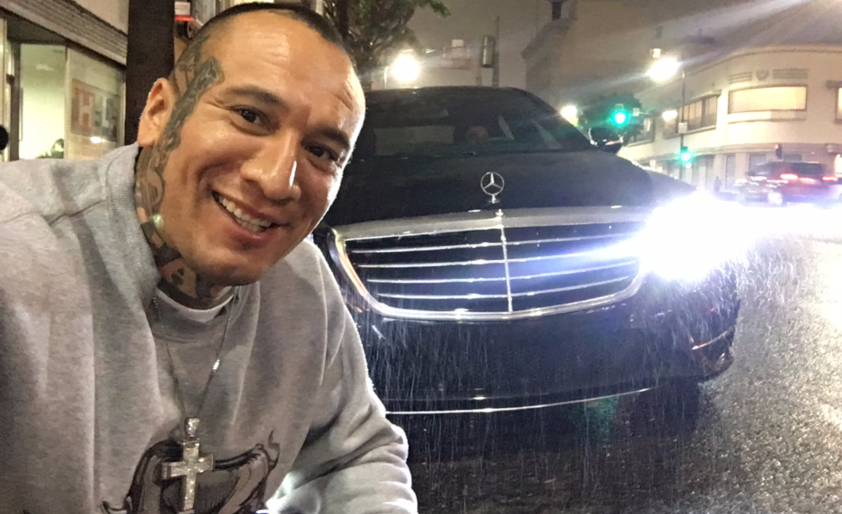 Crime and Thriller Book Author Roy Albert Andrade in Hollywood, CA in his Mercedez Benz