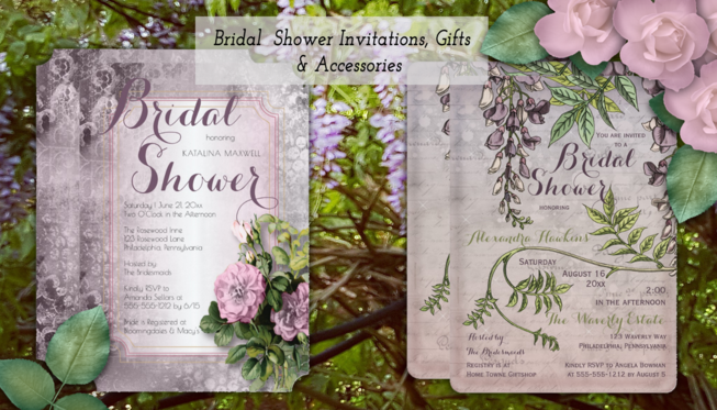 bridal shower invitations for elegant, vintage, floral, nautical and rustic bridal showers