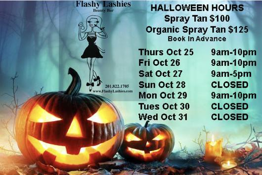 Flashy Lashies Halloween Hours