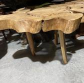 Round Live Edge Slab Cross Cut Dining Table