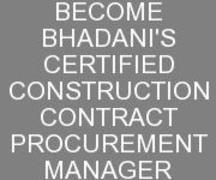 CONSTRUCITON CONTRACT PROCUREMENT MANAGEMENT COURSE IN DELHI INDIA KOLKATA GHAZIABAD UTTA RPRDESH HARYANA PUNJAB BHADANIS