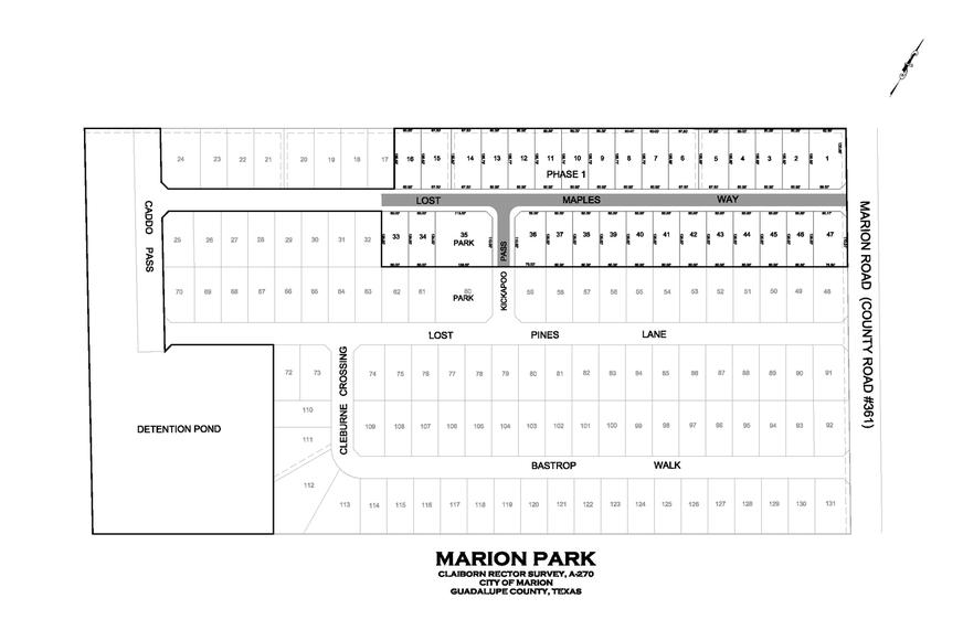 Marion Park plot map for Marion Texas