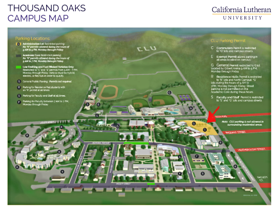 California Lutheran University Campus Map.Monthly Location