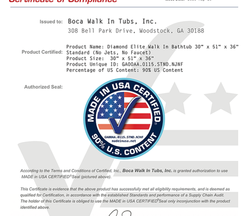 Certified Made In USA document