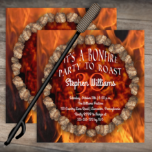 Rustic bonfire firepit roast birthday party square two-sided invitations for him