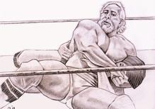 PAUL ELLERING applying a headlock