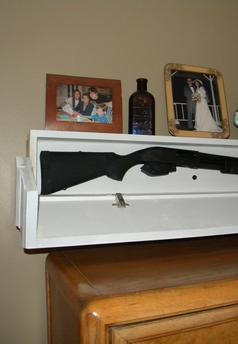 DIY Secret Floating Shelf Gun Safe. One of the most unique hidden compartment gun safe designs and its easy to build. www.DIYeasycrafts.com