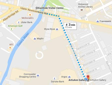 Map from EastSide Visitor Centre to ArtisAnn Gallery