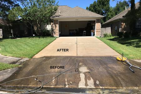 Driveway Pressure Washing in Houston TX before and after